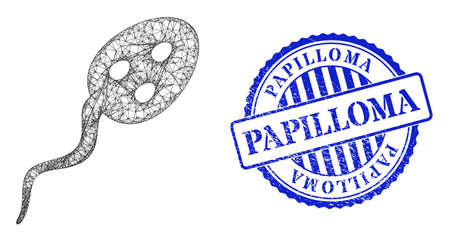 Vector net mesh vibrion microbe model, and Papilloma blue rosette grunge stamp seal. Linear carcass net image created from vibrion microbe pictogram, is created from intersected lines.