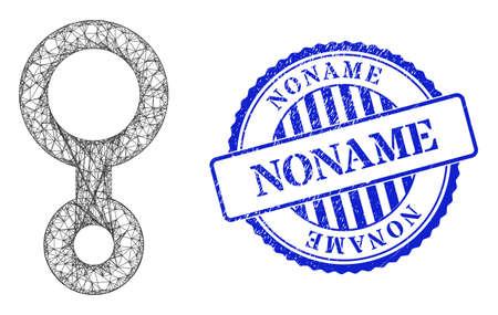 Vector network third gender symbol framework, and Noname blue rosette grunge stamp seal. Crossed frame network illustration designed with third gender symbol pictogram, made with intersected lines.
