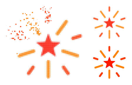 Shredded dot shine star icon with halftone version. Vector destruction effect for shine star pictogram. Pixelated destruction effect for shine star demonstrates motion of virtual objects. Ilustração Vetorial