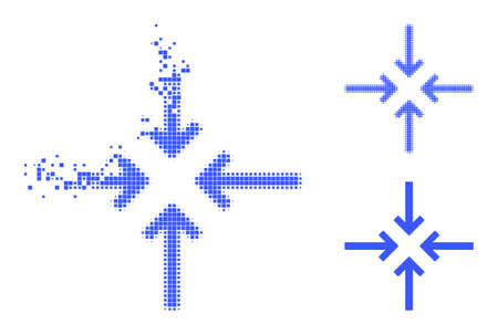 Erosion pixelated reduce arrows icon with halftone version. Vector wind effect for reduce arrows icon. Pixelated dissolving effect for reduce arrows demonstrates motion of virtual world.