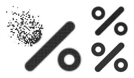 Broken dot percent icon with halftone version. Vector destruction effect for percent icon. Pixel disappearing effect for percent reproduces movement of virtual world. Vektorgrafik