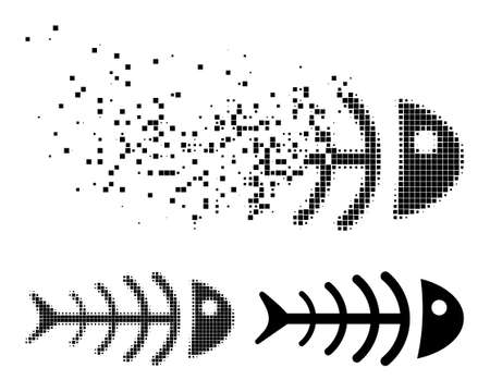 Fragmented pixelated dead fish pictogram with halftone version. Vector destruction effect for dead fish pictogram. Pixel disappearing effect for dead fish demonstrates motion of virtual matter.