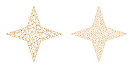 Mesh vector space star icons. Mesh carcass space star images in low poly style with connected triangles, dots and lines. Mesh illustration of triangulated space star, on a white background. Ilustração Vetorial