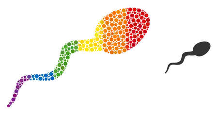 Sperm composition icon of circle spots in different sizes and spectrum colored color tones. A dotted LGBT-colored sperm for lesbians, gays, bisexuals, and transgenders. Vecteurs