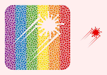 Dot mosaic rush Covid virus subtracted icon for LGBT. Colorful rounded rectangle mosaic is around rush Covid virus cut out shape. LGBT spectrum colors. Vecteurs