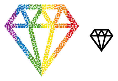 Brilliant collage icon of round dots in variable sizes and spectrum color tinges. A dotted LGBT-colored brilliant for lesbians, gays, bisexuals, and transgenders. Vecteurs