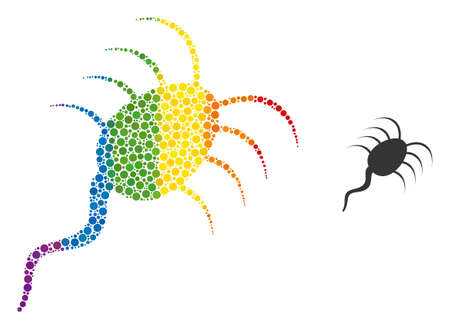 Infection microbe composition icon of circle spots in variable sizes and spectrum color tinges. A dotted LGBT-colored infection microbe for lesbians, gays, bisexuals, and transgenders.