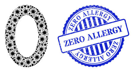 Cell collage digit zero icon, and grunge ZERO ALLERGY seal stamp. Digit zero collage for isolation images, and scratched round blue seal imitation. Vector collage is organized with random cell items. 向量圖像
