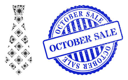 Viral mosaic checkered tie icon, and grunge OCTOBER SALE stamp. Checkered tie mosaic for medical templates, and unclean round blue stamp seal. Vector mosaic is made with random Covid-2019 elements. 向量圖像