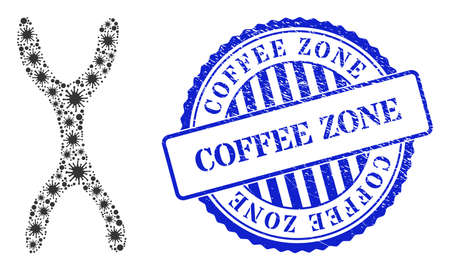 Bacterium collage chromosome icon, and grunge COFFEE ZONE seal stamp. Chromosome collage for isolation templates, and corroded round blue stamp seal. 向量圖像