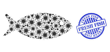 Virus collage fish icon, and grunge FRESH FISH seal. Fish collage for pandemic templates, and grunge round blue stamp seal. Vector mosaic is organized with randomized virus icons. 向量圖像