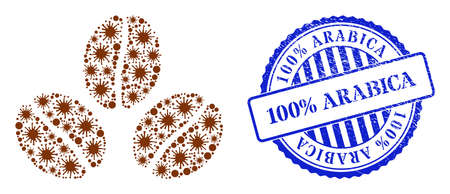 Contagious mosaic cacao beans icon, and grunge 100% ARABICA stamp. Cacao beans mosaic for medical images, and scratched round blue stamp seal. Vector mosaic is composed of scattered viral items.