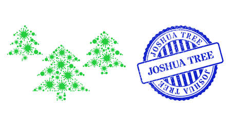 Virulent mosaic fir tree forest icon, and grunge JOSHUA TREE seal stamp. Fir tree forest mosaic for isolation templates, and textured round blue seal print. 向量圖像