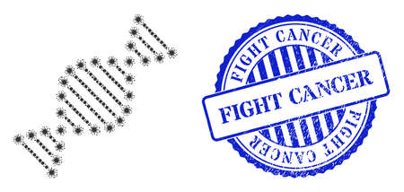 Covid-2019 mosaic DNA molecule icon, and grunge FIGHT CANCER seal. DNA molecule mosaic for medical templates, and rubber round blue stamp seal. Vector mosaic is formed from randomized Covid icons.