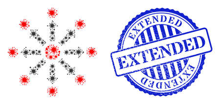 Covid-2019 mosaic expansion icon, and grunge EXTENDED stamp. Expansion mosaic for epidemic images, and grunge round blue stamp seal. Vector mosaic is designed with scattered infection elements. 向量圖像