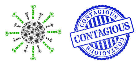 Covid-2019 mosaic contagious virus icon, and grunge CONTAGIOUS seal stamp. Contagious virus collage for epidemic images, and dirty round blue stamp.