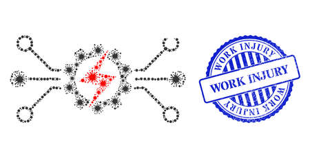 Virulent mosaic energy hitech icon, and grunge WORK INJURY stamp. Energy hitech mosaic for pandemic templates, and unclean round blue stamp. Vector mosaic is made from scattered cell elements. 向量圖像