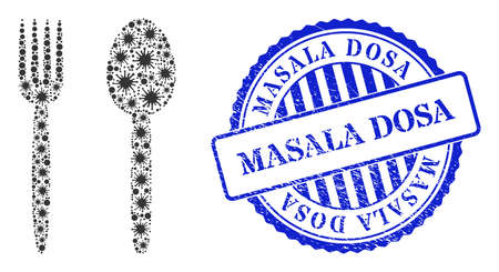 Contagious collage food utensil icon, and grunge MASALA DOSA stamp. Food utensil mosaic for pandemic images, and grunge round blue stamp seal. Vector collage is made of randomized contagious icons.