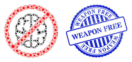 Bacilla mosaic brainless icon, and grunge WEAPON FREE seal stamp. Brainless collage for isolation templates, and grunge round blue stamp. Vector mosaic is constructed with scattered bacterium items.