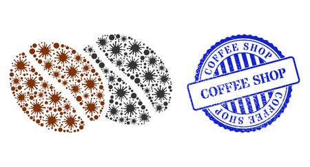 Covid mosaic coffee beans icon, and grunge COFFEE SHOP seal stamp. Coffee beans collage for breakout images, and rubber round blue seal. Vector collage is composed with random contagious parts. 向量圖像