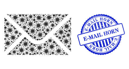 Cell collage envelope icon, and grunge E-MAIL HORN seal stamp. Envelope collage for pandemic templates, and grunge round blue stamp seal. Vector collage is organized from randomized Covid items. 向量圖像