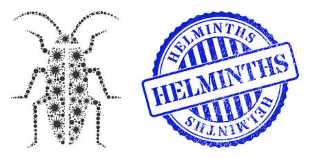 Bacilla collage cockroach icon, and grunge HELMINTHS seal stamp. Cockroach mosaic for isolation templates, and dirty round blue stamp seal. Vector collage is organized of random Covid-2019 icons.