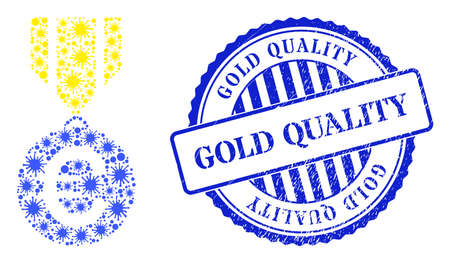 Cell collage euro medal icon, and grunge GOLD QUALITY seal stamp. Euro medal collage for medical templates, and grunge round blue stamp. Vector collage is made of scattered virus items.