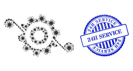 Bacterium collage gear solution icon, and grunge 24H SERVICE seal stamp. Gear solution collage for medical templates, and dirty round blue stamp seal.