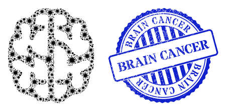 Bacterium mosaic brain icon, and grunge BRAIN CANCER seal stamp. Brain mosaic for pandemic templates, and scratched round blue stamp seal. Vector mosaic is created of scattered Covid icons.