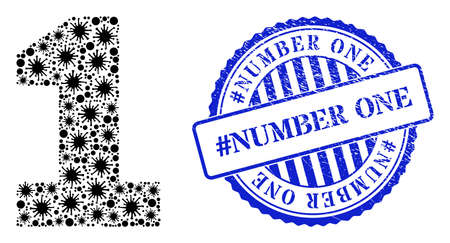 Viral collage digit one icon, and grunge #NUMBER ONE stamp. Digit one collage for isolation templates, and grunge round blue stamp seal. Vector mosaic is composed of randomized bacilla items. 向量圖像