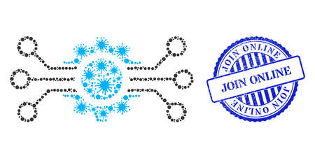 Cell collage gear circuit icon, and grunge JOIN ONLINE seal stamp. Gear circuit collage for isolation templates, and unclean round blue stamp seal. 向量圖像