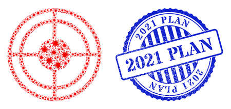 Viral mosaic bullseye icon, and grunge 2021 PLAN seal stamp. Bullseye collage for breakout templates, and dirty round blue seal. Vector collage is constructed with scattered viral icons. 向量圖像