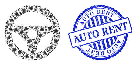 Bacilla mosaic car steering wheel icon, and grunge AUTO RENT seal. Car steering wheel mosaic for epidemic templates, and grunge round blue stamp seal.