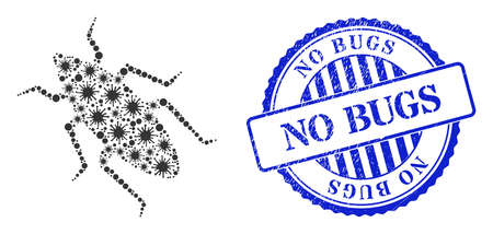 Cell mosaic bug icon, and grunge NO BUGS seal stamp. Bug mosaic for medical templates, and textured round blue seal imitation. Vector collage is organized of scattered bacilla parts. 向量圖像