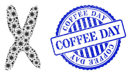 Bacterium collage chromosome icon, and grunge COFFEE DAY seal. Chromosome mosaic for epidemic images, and corroded round blue stamp seal. Vector mosaic is organized from randomized virulent icons.