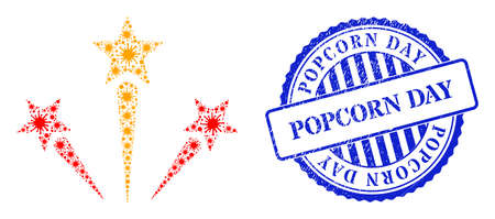 Infection collage fireworks icon, and grunge POPCORN DAY stamp. Fireworks mosaic for pandemic images, and grunge round blue seal imitation. Vector collage is created from scattered bacterium icons.