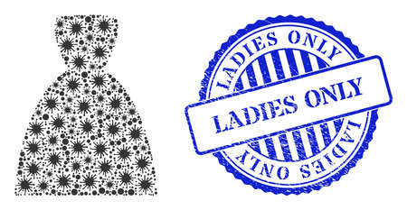 Covid-2019 collage female dress icon, and grunge LADIES ONLY seal stamp. Female dress collage for medical templates, and rubber round blue stamp imprint.