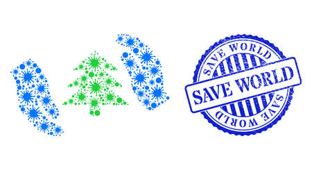 Bacilla collage fir tree care hands icon, and grunge SAVE WORLD seal stamp. Fir tree care hands mosaic for isolation images, and textured round blue stamp seal. 矢量图像
