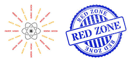 Bacilla mosaic atomic radiation icon, and grunge RED ZONE stamp. Atomic radiation mosaic for medical templates, and grunge round blue stamp seal.