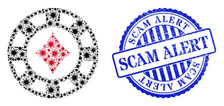 Coronavirus mosaic diamonds casino chip icon, and grunge SCAM ALERT stamp. Diamonds casino chip mosaic for medical templates, and dirty round blue stamp seal.