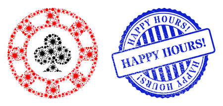 Virulent mosaic clubs casino chip icon, and grunge HAPPY HOURS! seal stamp. Clubs casino chip collage for breakout images, and rubber round blue stamp seal. 矢量图像