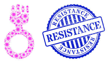 Covid-2019 collage feminism symbol icon, and grunge RESISTANCE seal stamp. Feminism symbol collage for breakout templates, and grunge round blue stamp. 矢量图像
