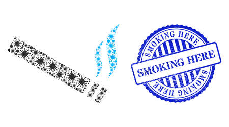 Covid collage cigarette smoke icon, and grunge SMOKING HERE seal stamp. Cigarette smoke collage for medical images, and corroded round blue seal print.