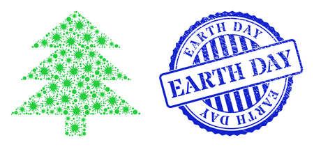Cell collage fir tree icon, and grunge EARTH DAY seal stamp. Fir tree collage for isolation templates, and grunge round blue seal. Vector collage is done from randomized cell parts. 矢量图像