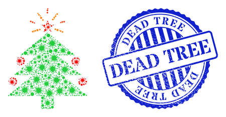 Virulent collage christmas fir tree icon, and grunge DEAD TREE seal stamp. Christmas fir tree collage for pandemic images, and scratched round blue stamp imprint. 矢量图像