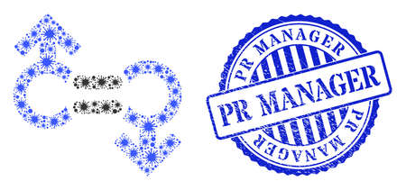 Virus mosaic gay relation symbol icon, and grunge PR MANAGER seal stamp. Gay relation symbol mosaic for breakout images, and textured round blue stamp imprint.