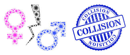Covid collage divorce symbol icon, and grunge COLLISION badge. Divorce symbol collage for medical templates, and scratched round blue stamp seal.