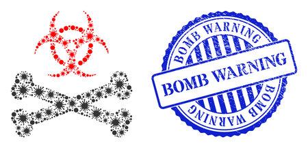 Virulent collage biohazard bones icon, and grunge BOMB WARNING seal stamp. Biohazard bones collage for medical images, and grunge round blue seal print.