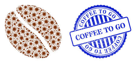 Viral collage coffee bean icon, and grunge COFFEE TO GO seal stamp. Coffee bean collage for isolation templates, and dirty round blue stamp seal. 矢量图像