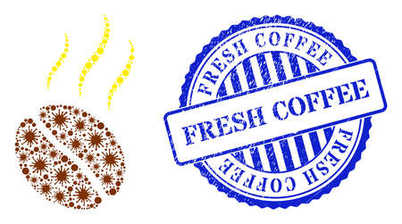 Covid mosaic aroma coffee bean icon, and grunge FRESH COFFEE seal stamp. Aroma coffee bean mosaic for epidemic templates, and dirty round blue stamp seal.